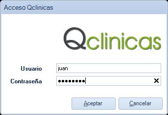 Pantalla de acceso a Qclinicas