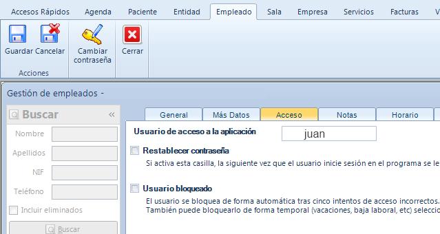 Gestión del acceso de un empleado a Qclinicas