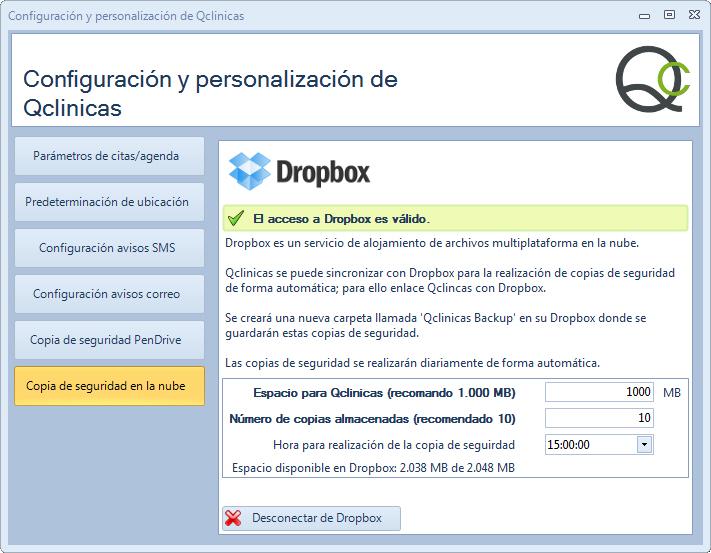 Información de acceso correcto de Qclinicas a Dropbox para realización de copias de seguridad