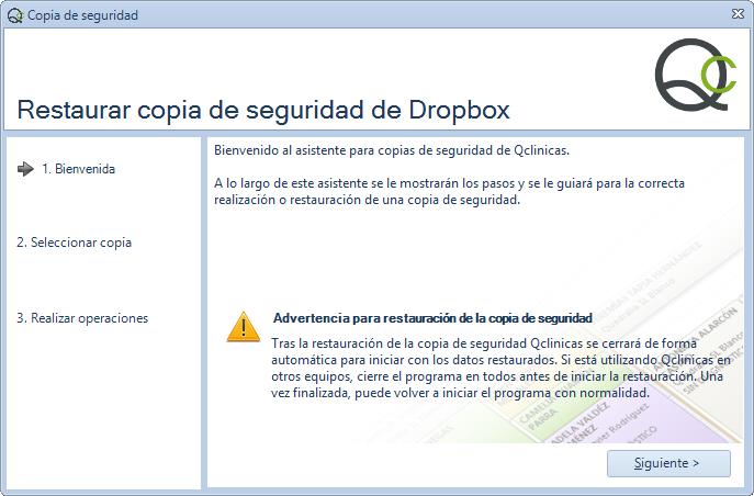 Paso 1 - Asistente restauración copia de seguridad de Qclinicas en Dropbox