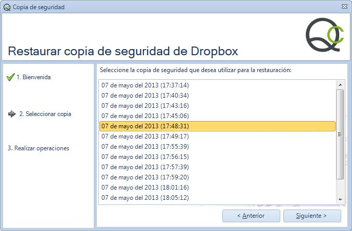 Paso 2 - Asistente restauración copia de seguridad de Qclinicas en Dropbox