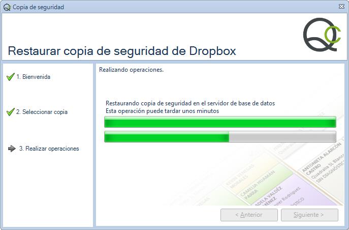 Paso 3 - Asistente restauración copia de seguridad de Qclinicas en Dropbox