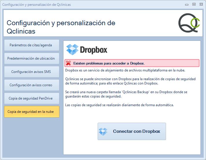 Ventana de configuracion de Qclinicas mostrando la configuración de Dropbox